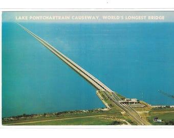 "Louisiana, Vintage Postcard,  ""Lake Pontchartrain Causeway, World's Longest Bridge,"" around 1970, #1114."