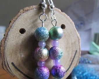 Rainbow earrings , Silver plated earrings , Beaded earrings , Dangle earrings , Glitter earrings , Gifts for her