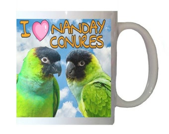 I Love Nanday Conures Black-hooded Parakeet Parrot Blue Sky Clouds White 11oz Ceramic Coffee Mug