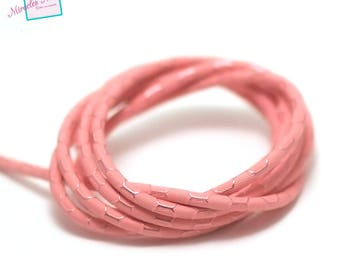 """1 m """"honeycomb"""" 3 mm round leather cord, pink"""
