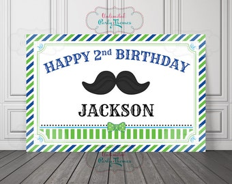 PRINTED, Little Man Birthday Banner, Mustache Birthday Party, Lime and Blue, Little Man Backdrop, Mustache Party, Cake Table Backdrop