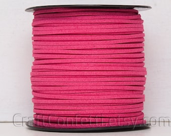 Raspberry faux suede cord 3mm Jewelry supplies Jewelry cord  Suede rope Suede thread Craft project/ 3 meters