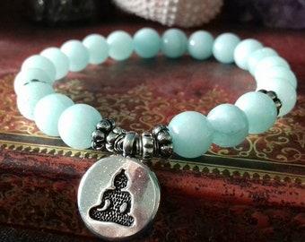 Aquamarine Crystal Charm Bracelet - Aquamarine Stacking Yoga Bracelet - Aquamarine Gemstone Bracelet - Stretch Bracelet - Boho Bracelet - B
