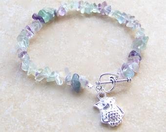 Fluorite Gemstone Chip Silver Masquerade Owl Bracelet