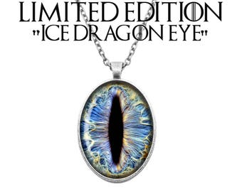 LIMITED EDITION Ice Dragon Eye House Targaryen Game of Thrones Inspired Fan Art Cameo Handmade Silver Plated Necklace Jewellery
