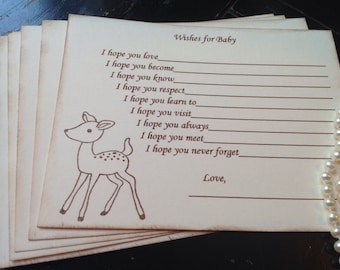 Wishes for baby-Deer-gender neutral baby shower games- gender reveal-Deer theme-baby shower-fill in the blank game-set of 12