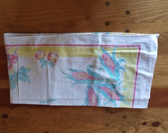 Vintage linen Tablecloth. 30's. White, red, green, yellow corn cobs.