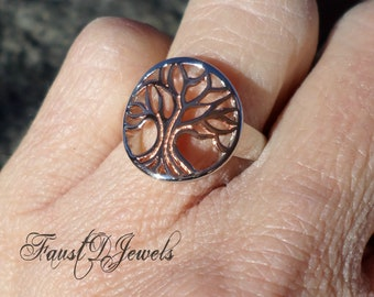 Sterling Silver Rose Gold Plated Tree of Life Ring High polish Rhodium plated