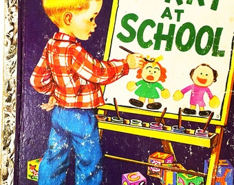 Jerry At School by Kathryn And Byron Jackson.  FIRST EDITION.  Little Golden Book. Vintage Children's Book circa 1950.