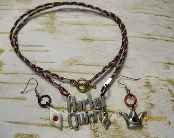 Harley Quinn Jewelry Set Braided Necklace and Earrings