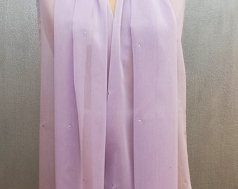Lavener Chiffon XL Shawl Wrap with Rhinestones