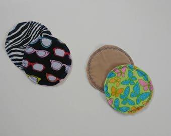 Two sets reusable nursing pads, ready to ship, printed, light, flannel, nursing, breastfeeding, reusable, rewashable, RTS
