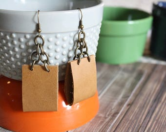 faux leather & chain earrings . light brown and bronze