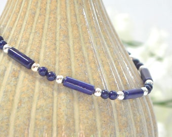 Blue Ankle Bracelet Anklet Minimalist Anklet Adjustable Beaded Ankle Bracelet Handmade Jewelry