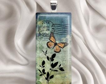 Butterfly Postcard - Rectangle Glass Tile Pendant Necklace