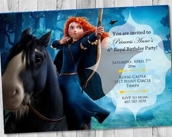 Brave Merida Birthday Invitation