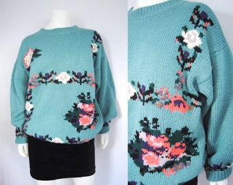80s pastel floral sweater -- vintage oversized sweater, seafoam green, baggy, slouchy, 1980s 80s, s/m