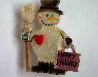 Happy Holiday Snowman with Broom Pin - 3636