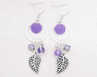 Flower and leaf - Amethyst - silver color Metal earrings