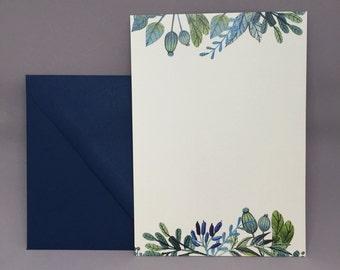 Blue Floral Garden Invitations (set of 10)