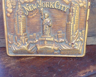 Vintage paper weight,plaque, New York, City, Empire State, Statue of Liberty, rockefeller center,footed, souvenir, gift for man