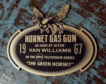 Custom 1967 GREEN HORNET Gas Gun Display Placard Television Series Bruce Lee Prop