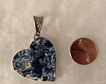 Navy and white heart pendant.  (No chain)