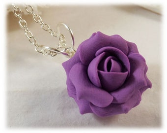 Dainty Purple Rose Necklace - Silver Gold or Antique Brass, Purple Rose Jewelry, Small Purple Flower Necklace