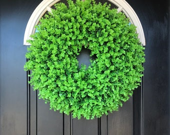 "Artificial 24"" boxwood wreath"