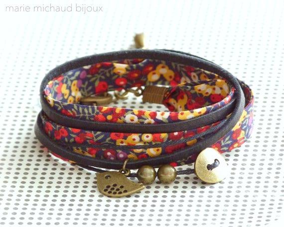 Liberty bracelet,Wrap bracelet,Double wrap bracelet,Textile bracelet,Cuff bracelet,Liberty jewelry,Colorful bracelet,Gift under 30