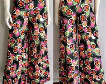 Vintage Women's 70's High Waisted, Floral Pants, Black, Neon, Polyester, Wide Leg (M)