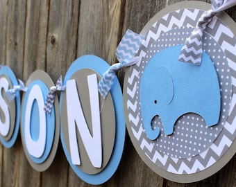 Elephant Baby Shower Banner - It's a Boy Banner - Baby Shower Decorations for a Boy - Baby Shower Theme or Ideas in Light Blue and Gray