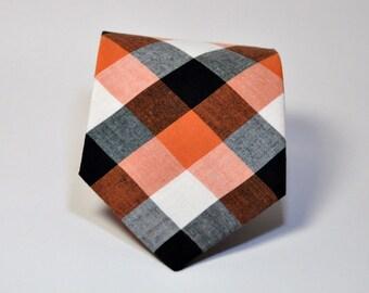 Orange and Black Men's Necktie