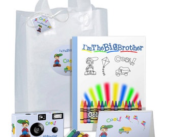 I'm The Big Brother Gift Bag  -- full of goodies in BLUE -- camera, photo album, coloring book, crayons, gift tag - can be PERSONALIZED