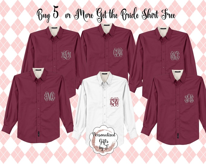 Buy 5 get 1 Monogrammed Getting Ready Shirts, Bridesmaids Button Downs, Bridal Party Shirts  Personalized Oversized Shirt, Bridesmaids Gift