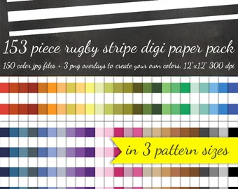 80% OFF SALE Rugby Stripe Digital Scrapbook Paper Pack - 3 Stripe Pattern Sizes 50 Colors Each & 3 Overlays - Digital Scrapbooking Paper