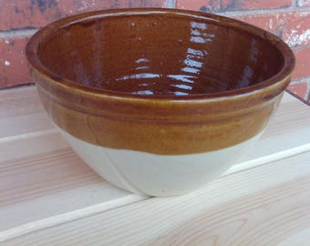 Stoneware Crock Mixing/Serving Bowl, Brown Drip Pottery, Country Kitchen