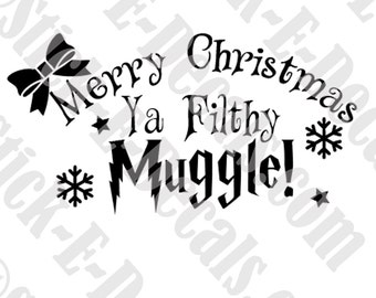 Merry Christmas Y aFilthy Mugge! Harry Potter Decal Stickers FREE USA SHIPPING!