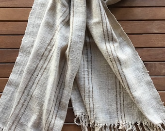 Madagascar oatmeal with golden brown stripes handwoven raw silk scarf