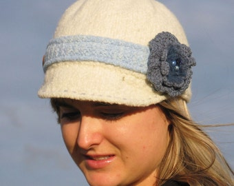 Knitted Felted Newsboy Hat Pattern for adult or child