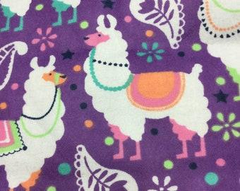 LLAMAS on Purple Flannel Fabric - CUUUUTE!!