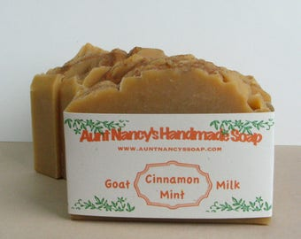 Cinnamon Mint Handmade Goat Milk Soap - Scented With Essential Oils - Warm Minty Scent - Creamy Luxurious Lather - Scent for Both Men, Women