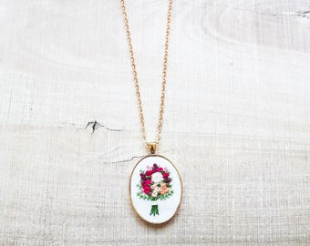 Rose Gold Hand Embroidered Bouquet Pendant Necklace Jewelry | Gifts for Her | Mother's Day Bridesmaid Wedding Anniversary Birthday Gift |