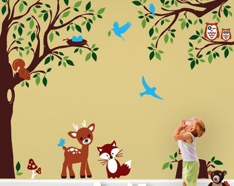 Baby Nursery Woodland Large Wall Decal - Deer Fox Squirrels Owls in the Wood Wall Stickers -Wall Decals for Kids Vinyl Decals - PLFR040  sc 1 st  Etsy & Magnificent Wall Decals and Large Stickers for by evgieNev on Etsy