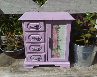 Vintage Jewelry Box Up-cycled Shabby Chic Armoire Pink Decoupage