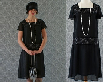 Black flapper dress with chiffon and lace with flutter sleeves, Gatsby dress, 1920s flapper dress, Downton Abbey dress, Charleston dress