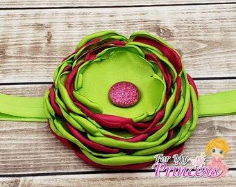 Signed flower headband. Apple green, shocking pink, glitter. Handmade.