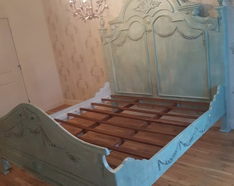 French Bed Painted Cottage Shabby Chic King SIze Blue (USED)