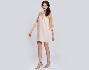 Beige Mini Dress with Tulle Party Sheer Beige