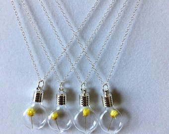 Yellow Rose Heart Pendant - Set of 4, Bridesmaid / Flower Girl Gifts, Friendship Jewelry, Individually Gift Wrapped